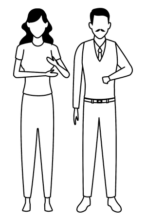 young woman and old man avatar cartoon character  vector illustration graphic design 向量圖像