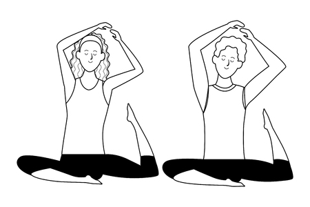 couple yoga poses avatars cartoon character headband black and white isolated vector illustration graphic design 矢量图像
