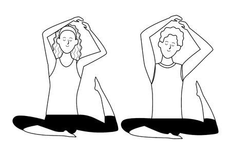 couple yoga poses avatars cartoon character headband black and white isolated vector illustration graphic design Illustration
