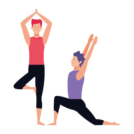 men yoga poses avatar cartoon character vector illustration graphic design Vectores