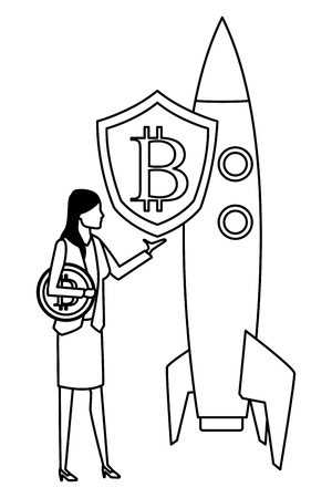 businesswoman with cryptocurrency skyrocket icon cartoon black and white vector illustration graphic design
