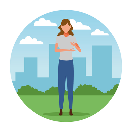 woman avatar cartoon character   at cityscape round icon vector illustration graphic design Foto de archivo - 120833593