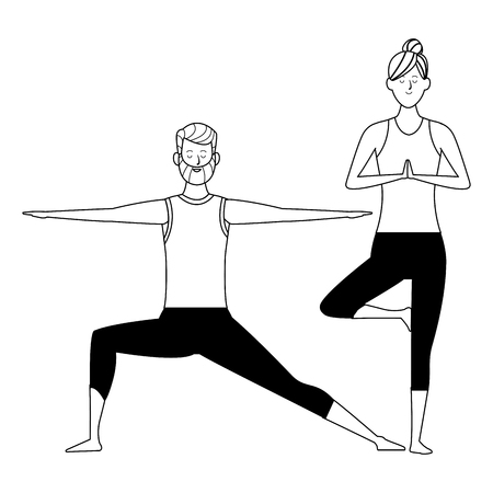 couple yoga poses avatars cartoon character with beard and bun black and white isolated vector illustration graphic design