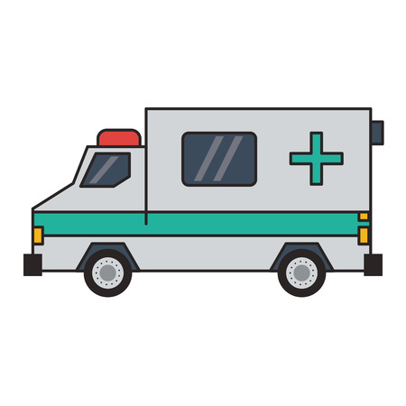 Ambulance emergency vehicle sideview vector illustration graphic design Иллюстрация