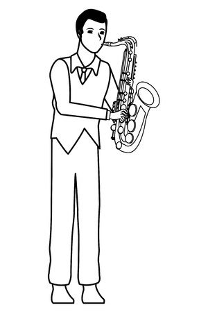 musician playing saxophone avatar cartoon character black and white vector illustration graphic design