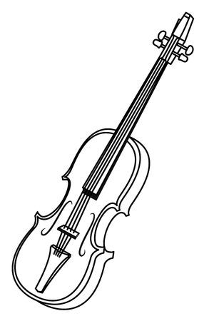icona di violino fumetto isolato in bianco e nero illustrazione vettoriale graphic design