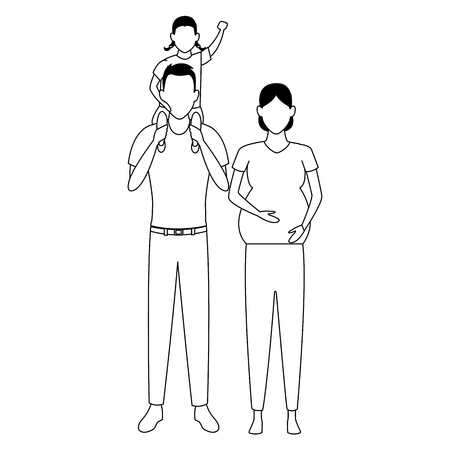 family avatar cartoon character couple pregnant with child black and white vector illustration graphic design