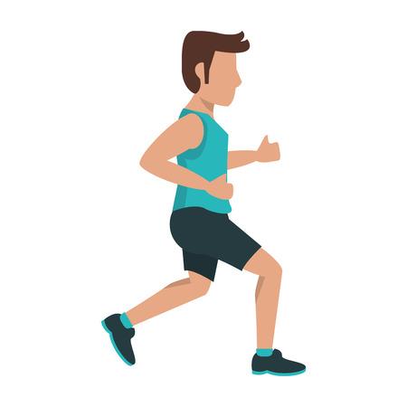 hombre de fitness corriendo avatar de vista lateral Ilustración de vector