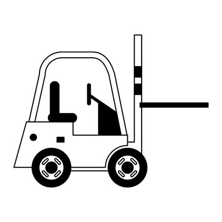 Diseño gráfico del ejemplo del vector del sideview del vehículo de carga de la carretilla elevadora