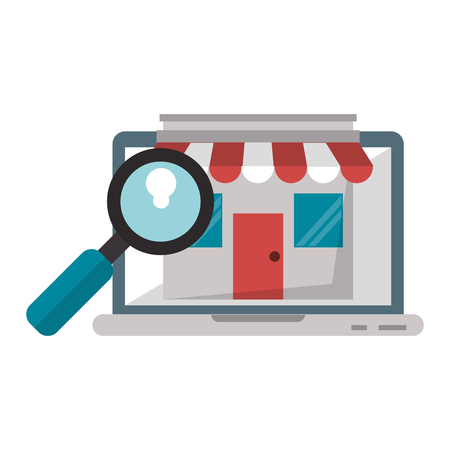 Laptop website browsing shopping with storefront and magnifying glass vector illustration graphic design  イラスト・ベクター素材