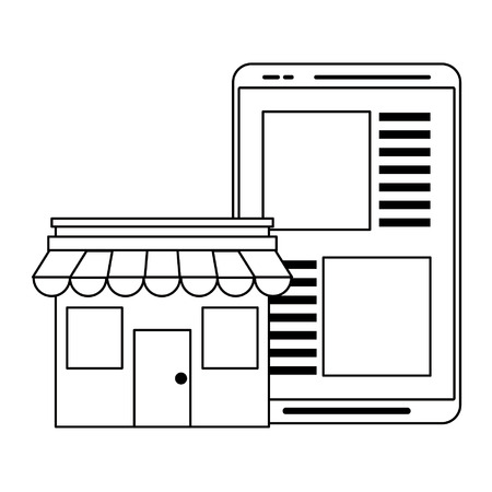 Store with tablet ecommerce bussiness vector illustration graphic design