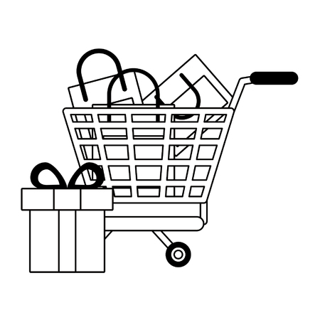 Online shopping cart with bags and gift vector illustration graphic design Stock Illustratie