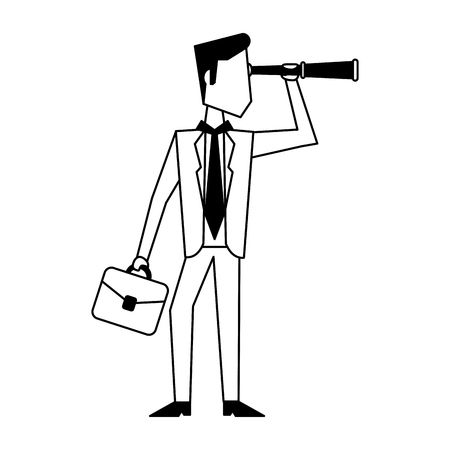 Executive businessman with briefcase and telescope avatar vector illustration graphic design