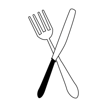 Cutlery fork and knife crossed symbol vector illustration graphic design 写真素材 - 121206171