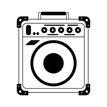 Progettazione grafica dell'illustrazione di vettore del dispositivo dell'altoparlante di musica retrò