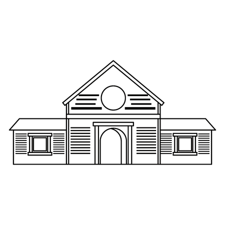 Wooden farm barn building isolated vector illustration graphic design