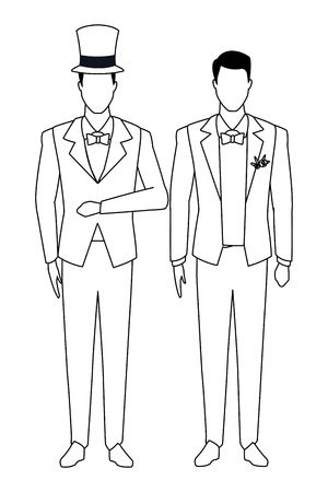 men wearing tuxedo avatar cartoon characters with bow tie and top hat black and white vector illustration graphic design