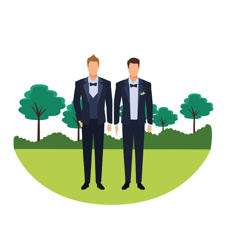men wearing tuxedo avatar cartoon characters with bow tie and waistcoat in the park vector illustration graphic design 矢量图像