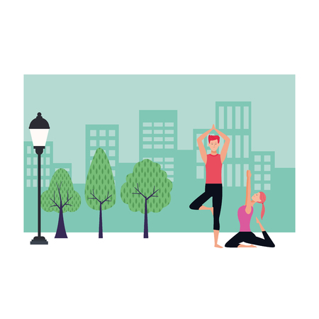 couple yoga poses avatars cartoon character with ponytail in the park cityscape vector illustration graphic design