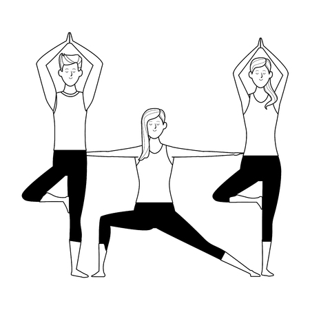 people yoga poses avatars cartoon character black and white isolated vector illustration graphic design Vectores