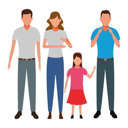 family avatar cartoon character child vector illustration graphic design