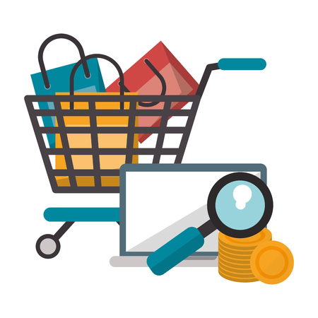Online shopping cart with bags laptop money search vector illustration graphic design Stock Illustratie