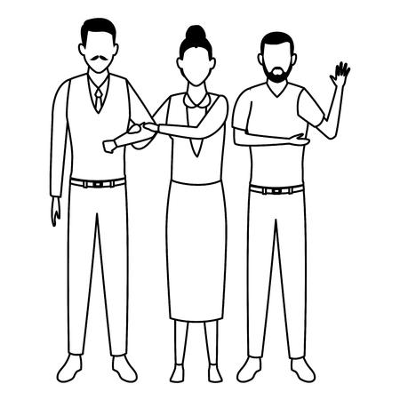 family avatar cartoon character elderly couple and man  vector illustration graphic design 일러스트
