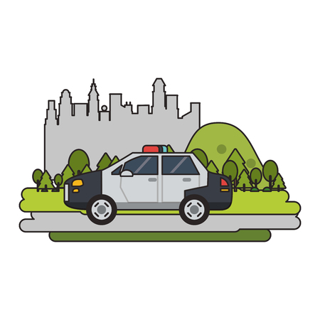 Police car vehicle isolated passing by city vector illustration graphic design Illustration