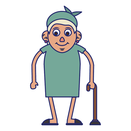 Elderly woman grandmother with a cane and dress isolated isolated vector illustration graphic design Standard-Bild - 123445577