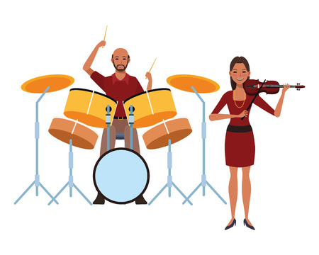 musician playing drums and violin avatar cartoon character vector illustration graphic design