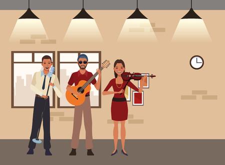 musician playing guitar violin and singing avatar cartoon character indoor rehearsal room vector illustration graphic design Illusztráció