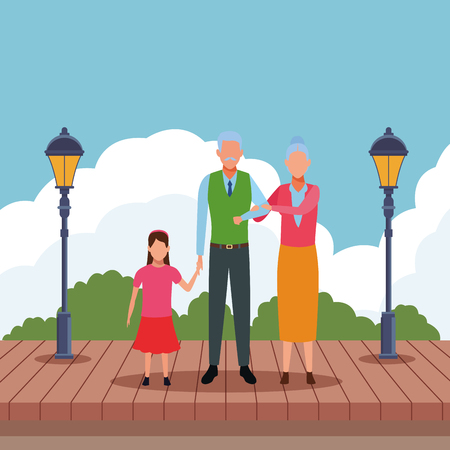 elderly couple with child avatar cartoon character   at park wooden floor vector illustration graphic design