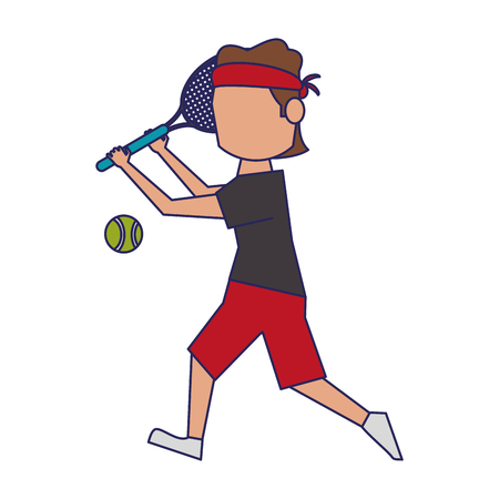 Tennis plasyer with racket and ball avatar vector illustration graphic design