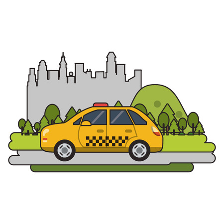 Taxi cab vehicle isolated passing by city vector illustration graphic design Standard-Bild - 120922994