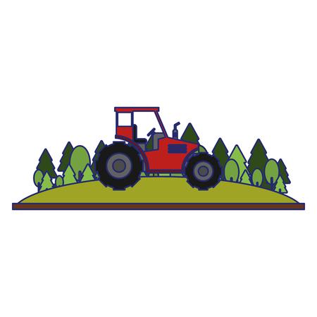 Farm tractor in nature scenery vector illustration graphic design