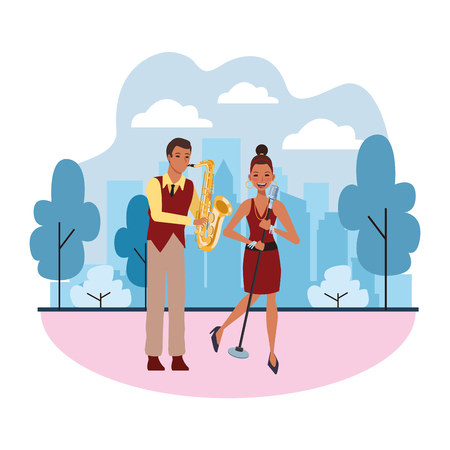 musician playing saxophone and singing avatar cartoon character in the park cityscape skyscraper vector illustration graphic design