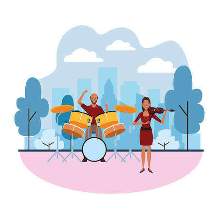 musician playing drums and violin avatar cartoon character in the park cityscape skyscraper vector illustration graphic design Illusztráció