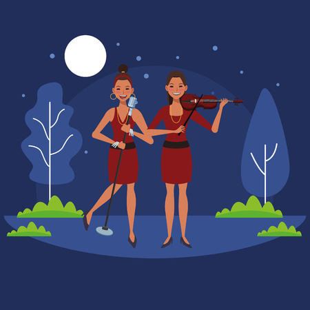 musician playing violin and singing avatar cartoon character in the park at night vector illustration graphic design Illusztráció