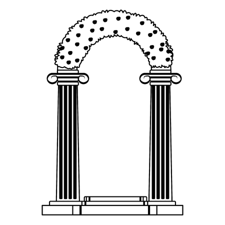 wedding altar icon isolated black and white vector illustration graphic design