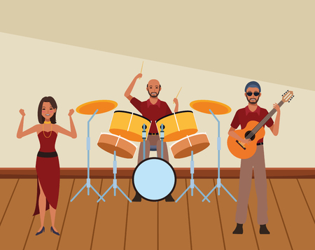 musician playing drums guitar and dancing avatar cartoon character indoor rehearsal room vector illustration graphic design Illusztráció