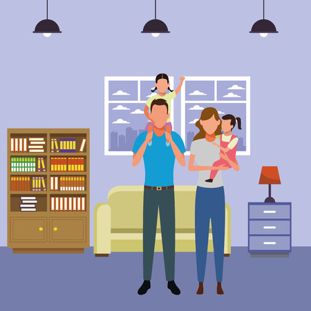 family avatar cartoon character couple with children   inside home with sofa and library vector illustration graphic design Ilustração
