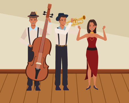 musician playing bass trumpet and dancing avatar cartoon character indoor rehearsal room vector illustration graphic design 矢量图像