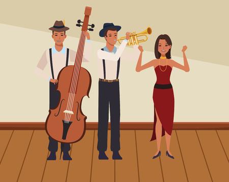 musician playing bass trumpet and dancing avatar cartoon character indoor rehearsal room vector illustration graphic design Illusztráció