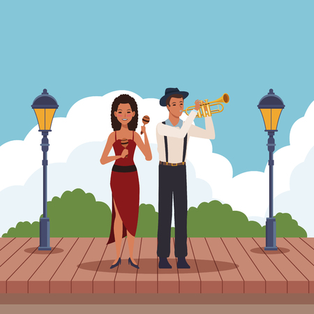 musician playing trumpet and maracas avatar cartoon character in the park vector illustration graphic design Illusztráció