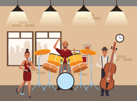 musician playing drums bass and singing avatar cartoon character indoor rehearsal room vector illustration graphic design