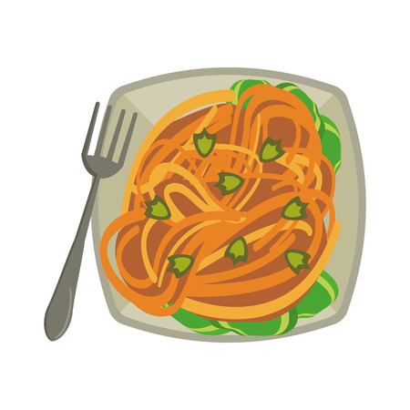 Spaghuetti on dish with fork food vector illustration graphic design Imagens - 123445904