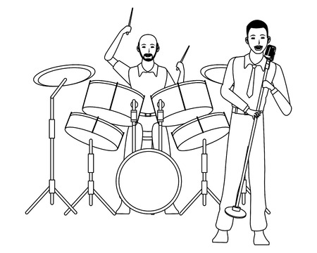musician playing drums and singing avatar cartoon character black and white vector illustration graphic design