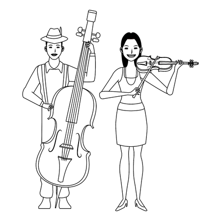 musician playing bass and violin avatar cartoon character black and white vector illustration graphic design