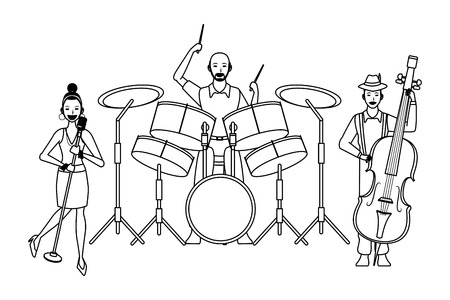 musician playing drums bass and singing avatar cartoon character black and white vector illustration graphic design
