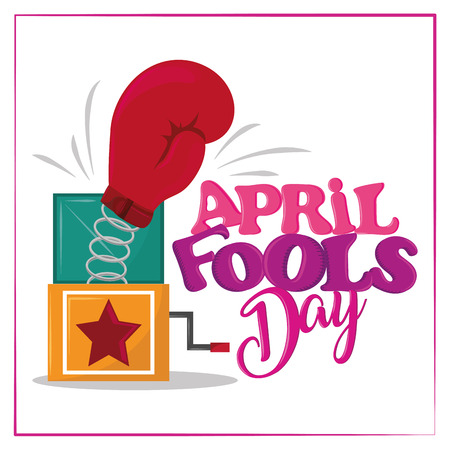 April fools day colorful card with funny cartoons vector illustration graphic design